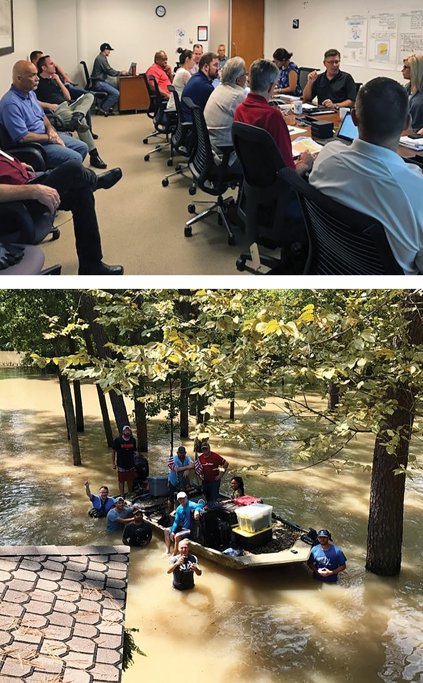 top photo: team meeting, bottom photo rescue crew in boat
