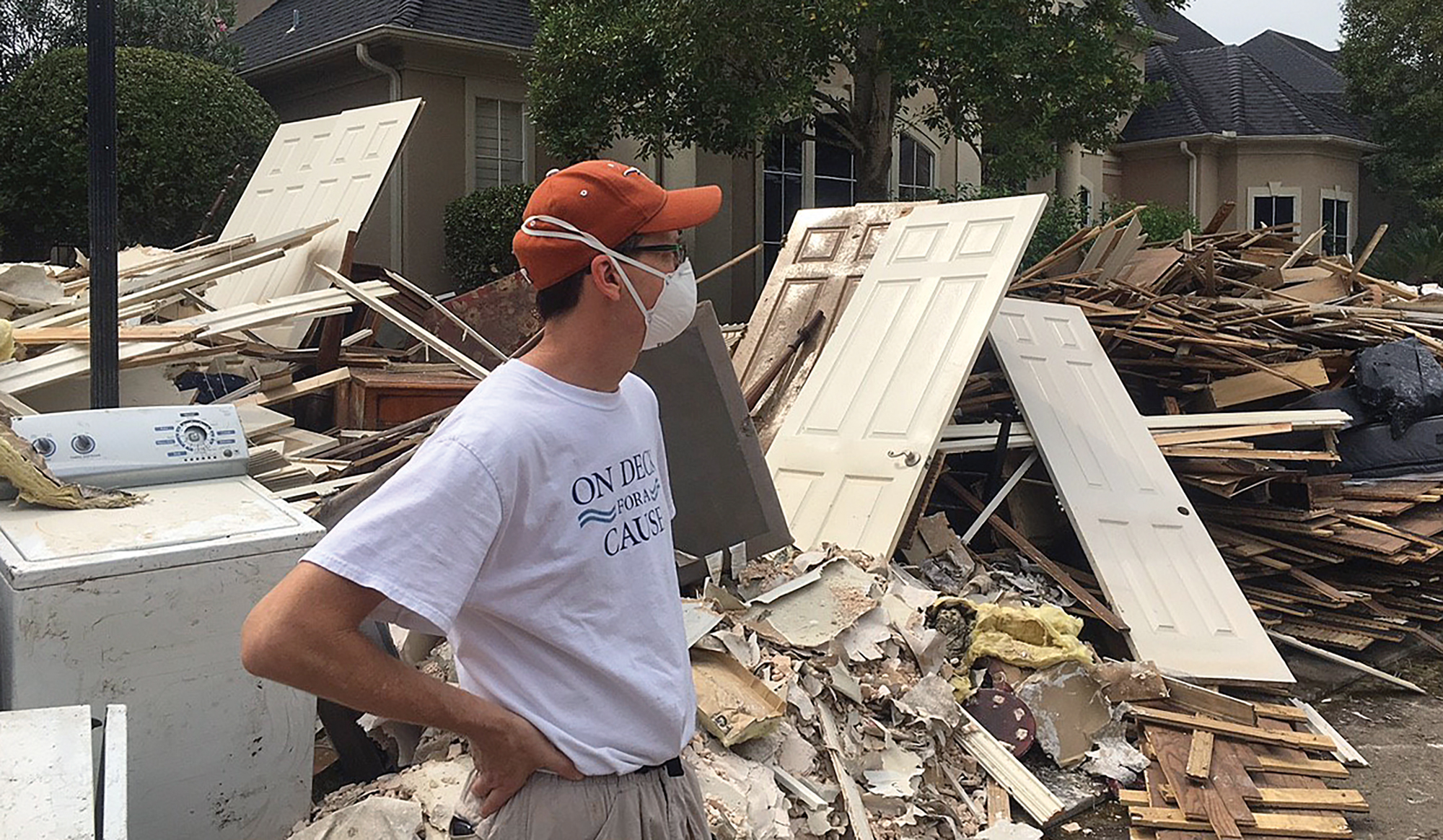 Eric Davis surveys flood damage