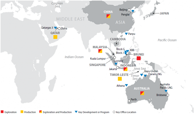 Map of ConocoPhillips Operations in Asia Pacific & Middle East