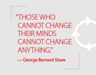 """Those who cannot change their minds cannot change anything."" – George Bernard Shaw"
