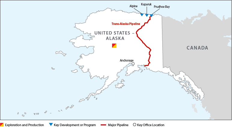 Map of ConocoPhillips Operations in Alaska