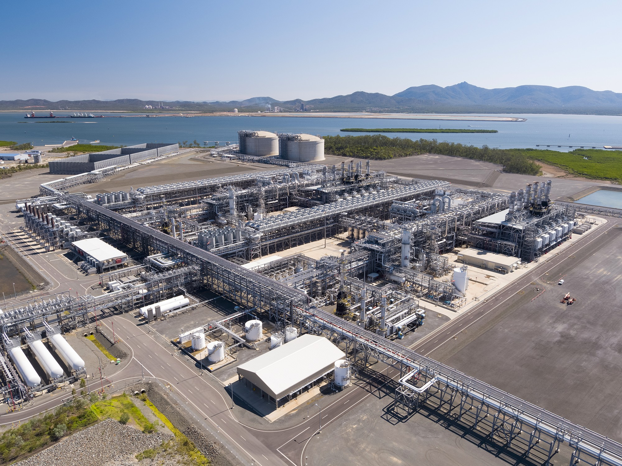 Aerial view of APLNG plant in Australia