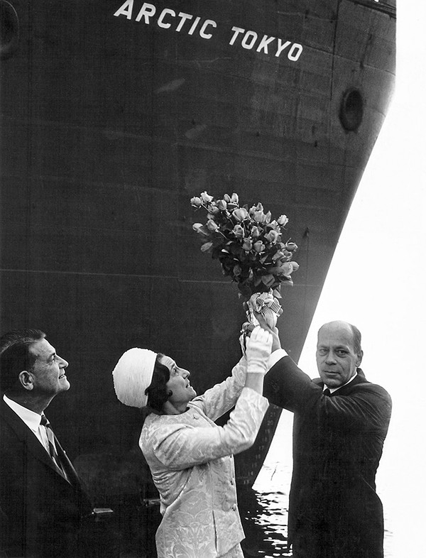 On Sept. 23, 1969, what were at the time the world's two largest LNG tankers, the Arctic Tokyo and Polar Alaska, were christened at the shipyards in Malmö, Sweden. Participating in the ceremonies were (left to right) Phillips CEO W.W. Keeler, Mrs. Keeler and Kockums Mekaniska Verkstads President N.H. Hallenborg. Right: LNG tankers in Cook Inlet