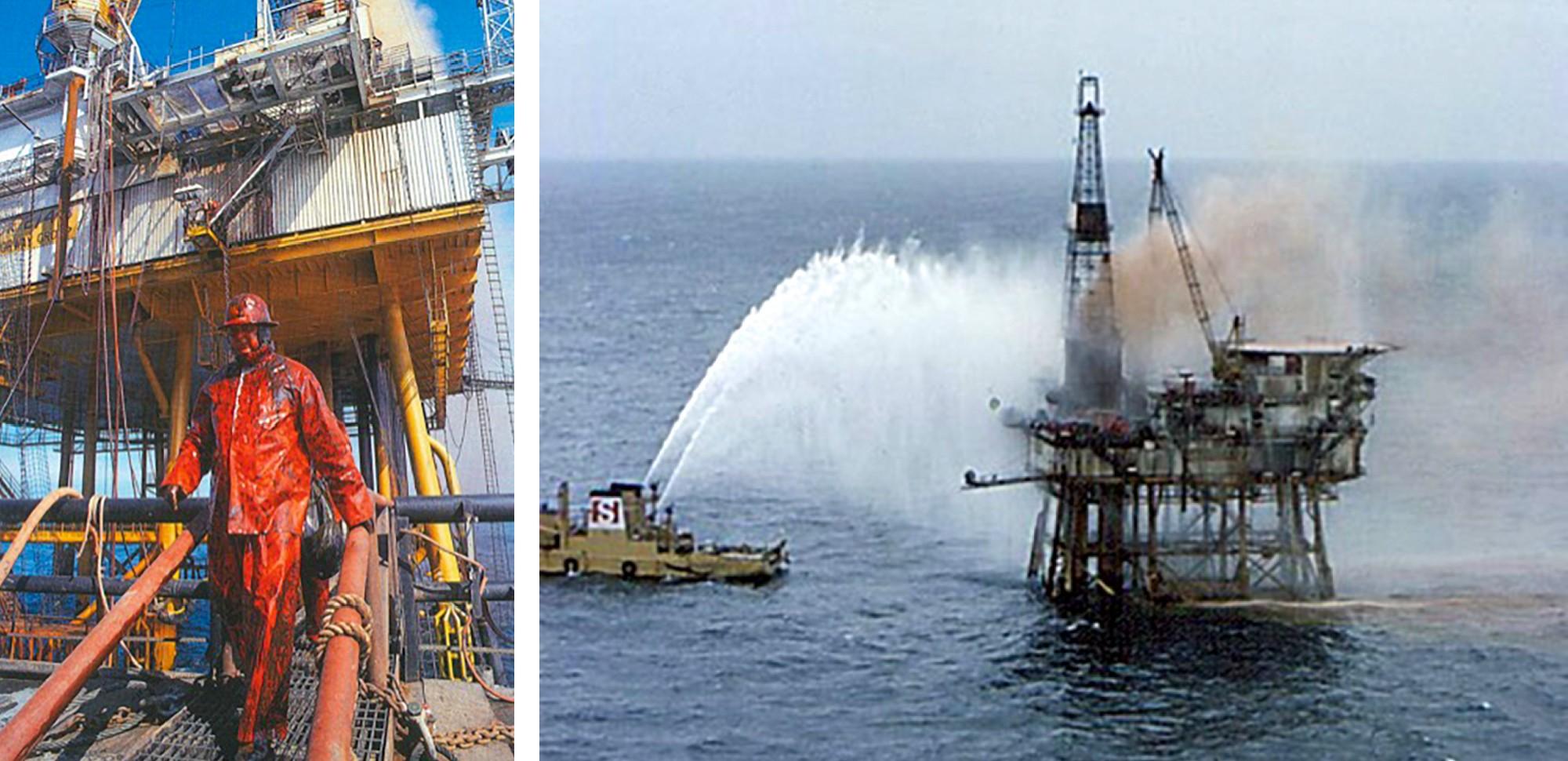 man wearing orange fire fighting gear; ship spraying water onto offshore platform