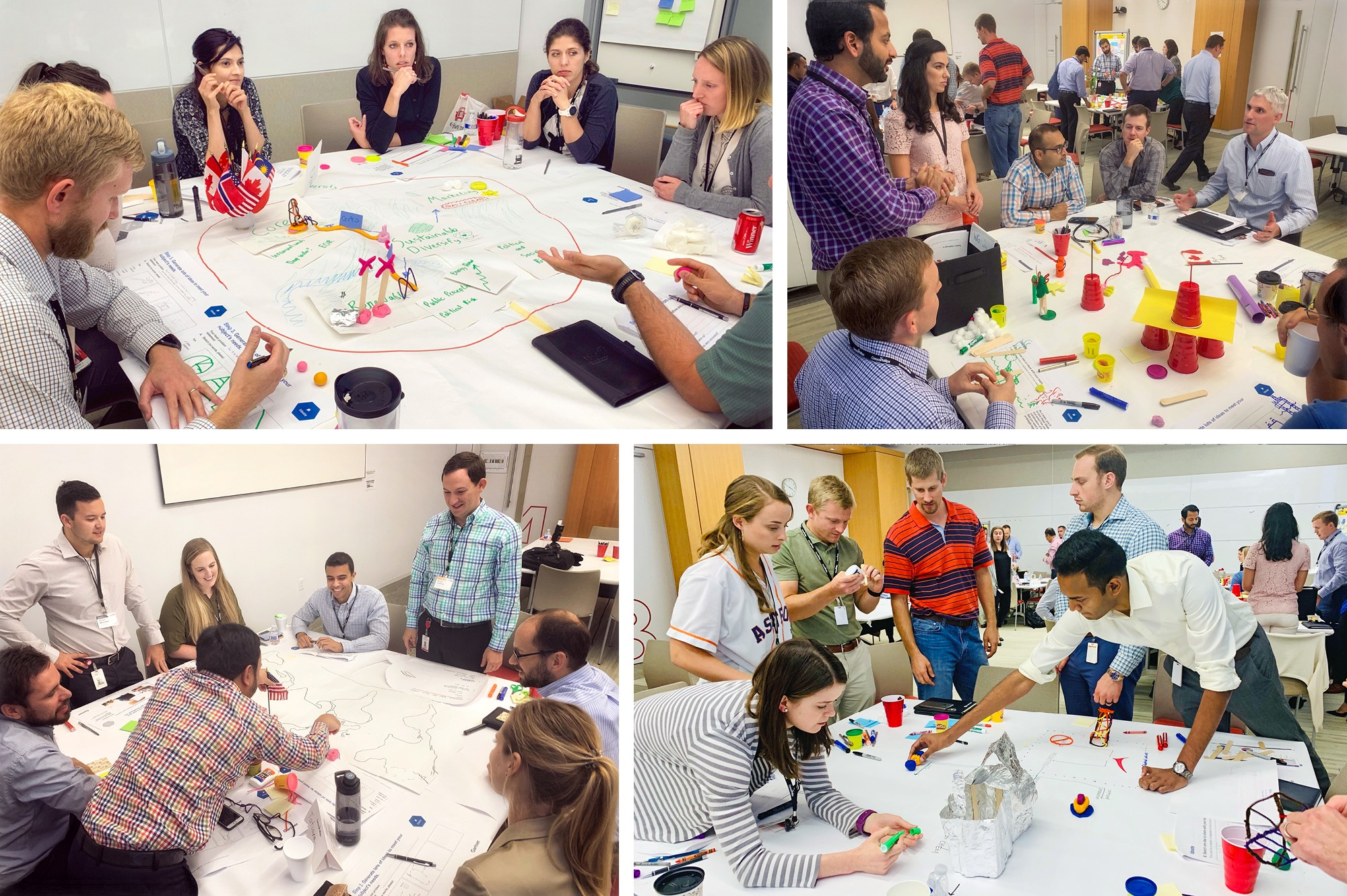 4 photos of students participating in workshop activities