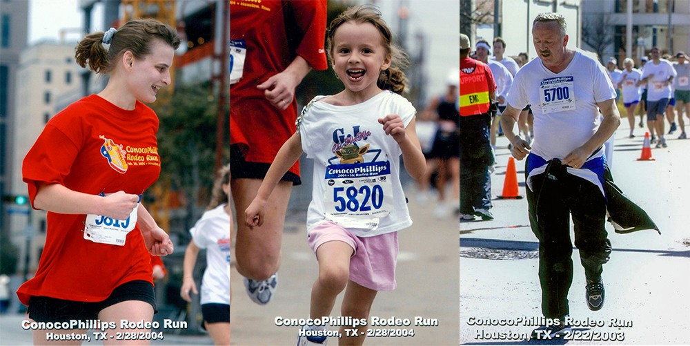Jennifer, Katie and Joe competing in the ConocoPhillips Rodeo Run.
