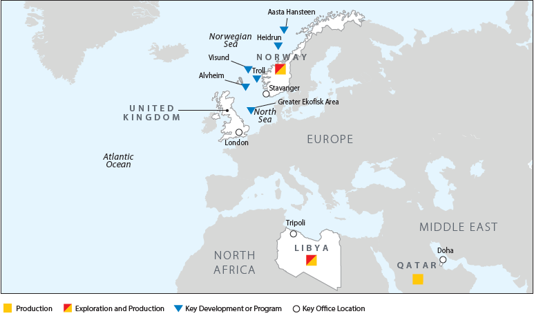 Conocophillips欧洲,中东和北非运营地图