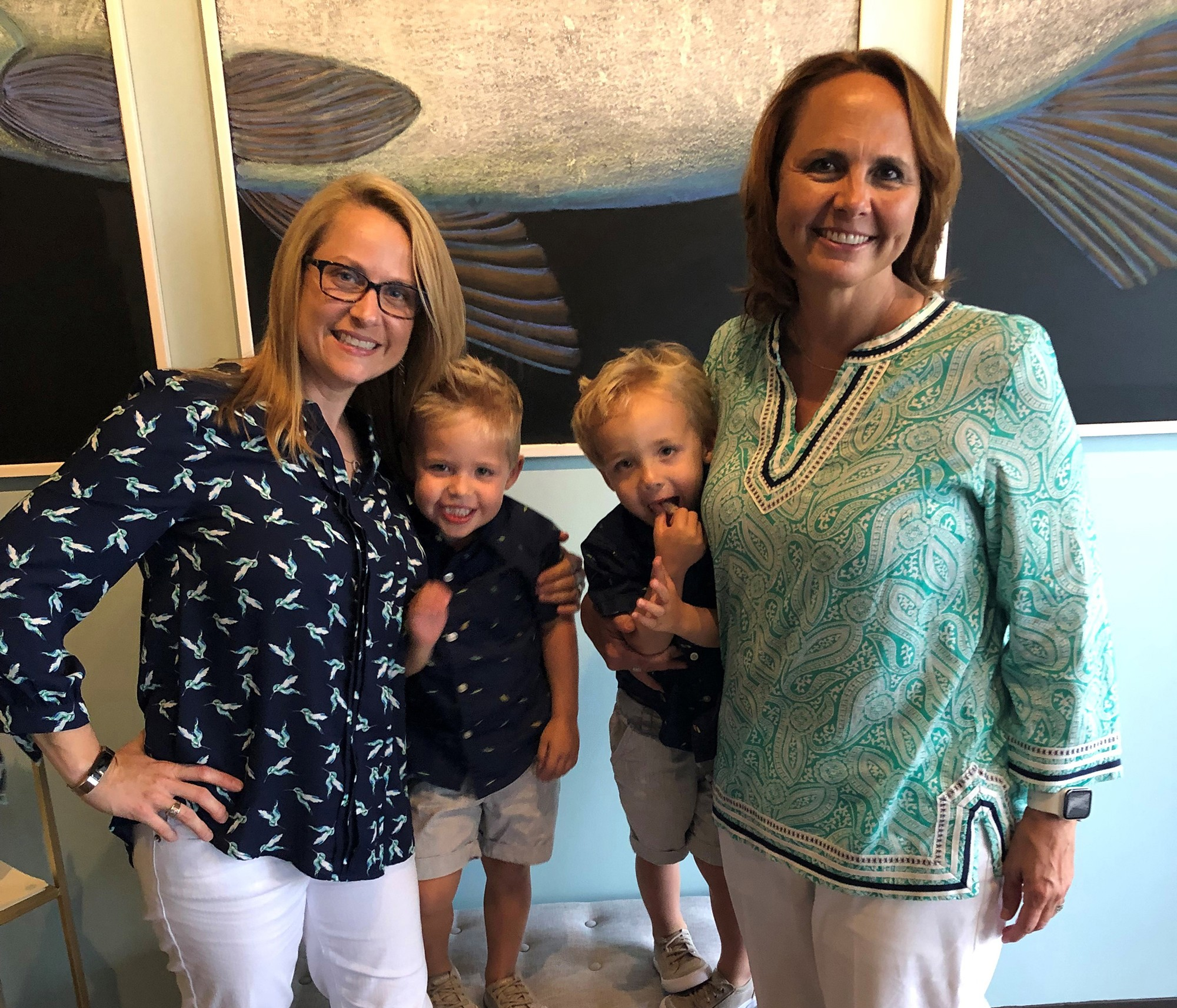 Megan Gosnell with partner Kim are pictured with their three-year-old twin boys, Jackson and Dexter Layne.