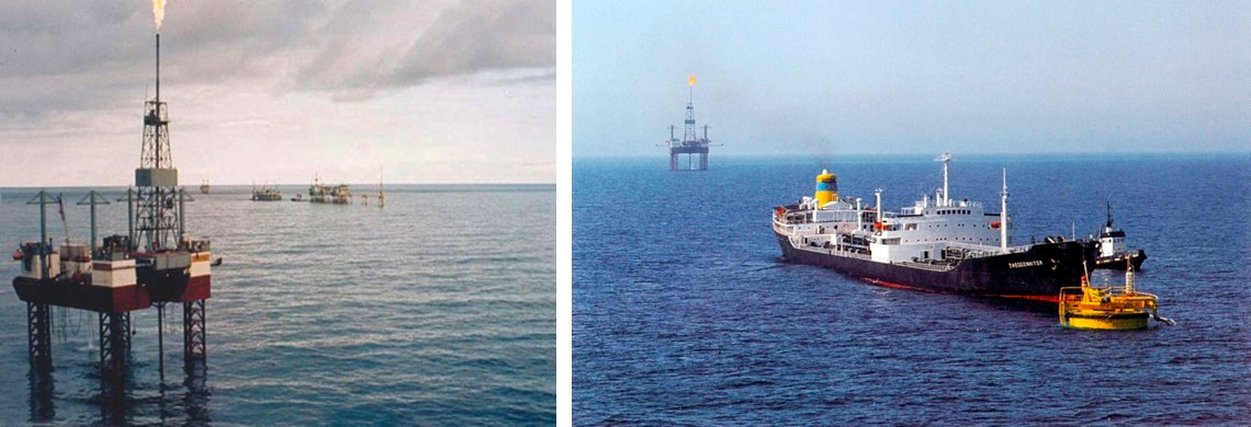 rig in ocean and tanker leaving rig