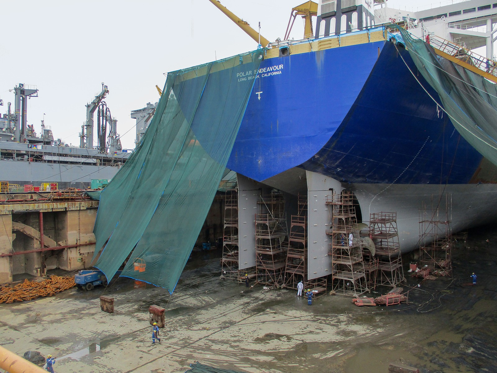 Stern of ship with scaffolding underneath