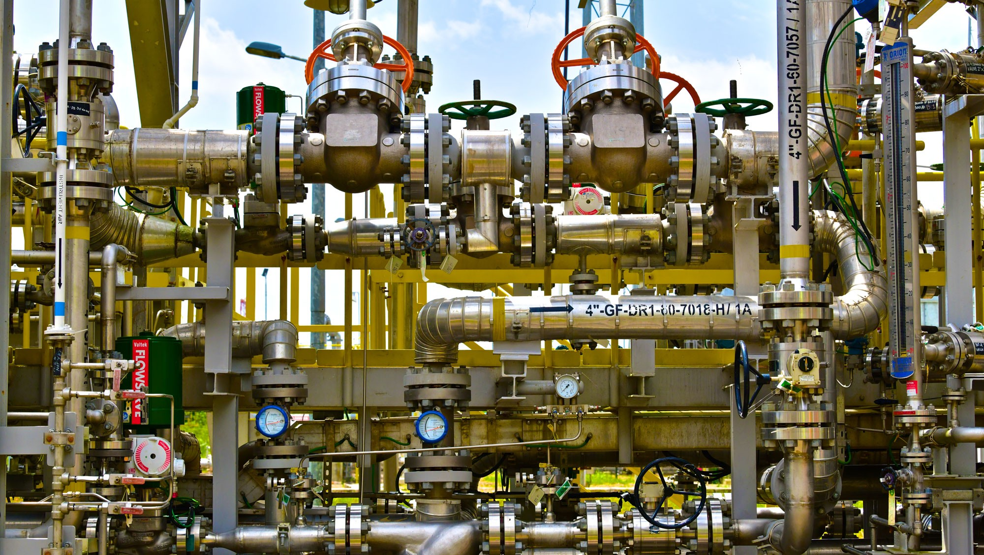 A confluence of pipelines and valves