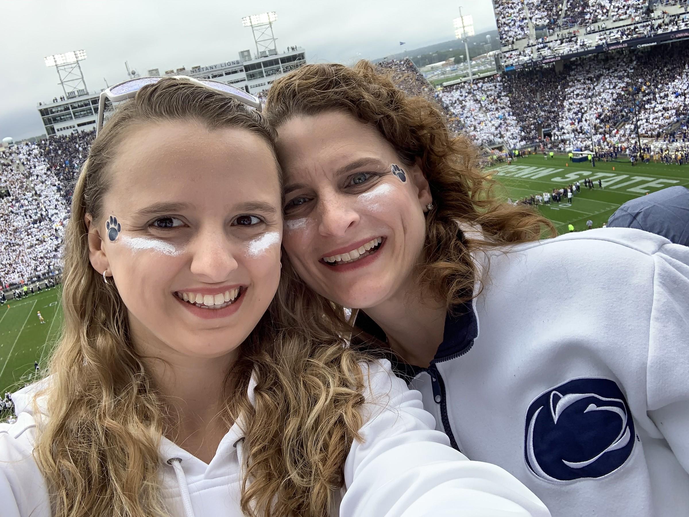 Katie and Jennifer Ellis at Penn State football game.