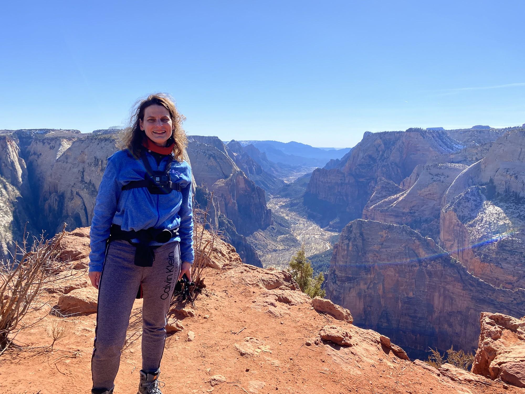 Jennifer at Observation Point in Zion National Park.