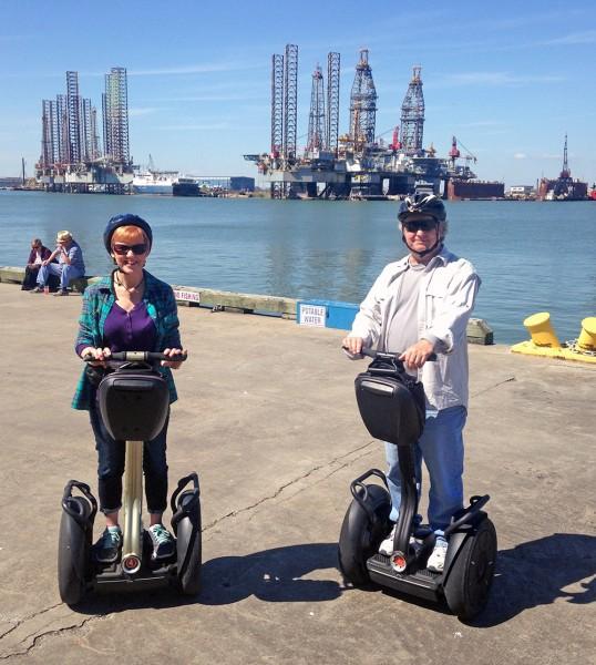 Bob Burton and his wife riding segways in Galveston, Tx