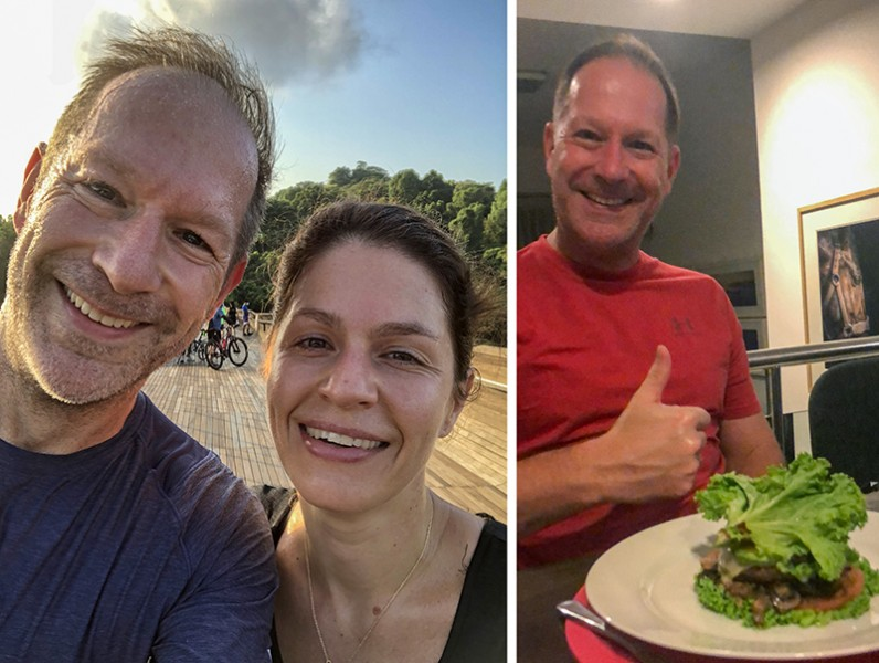 Mark with wife outdoors, smiling; Mark with healthy dish giving thumbs up