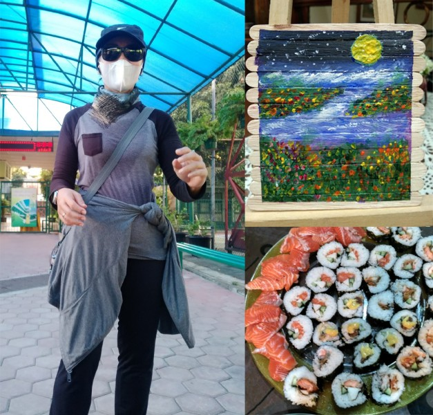 Tia in outdoor market wearing sunglasses and facemask; her painting and platter of sushi