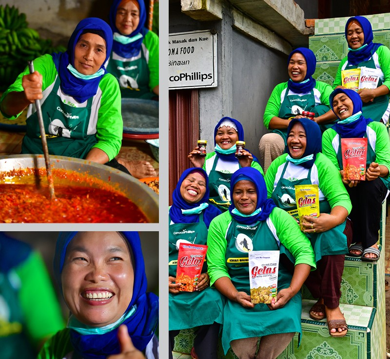 "Three photos of the ""spice ladies"" cooking, holding bags of crunchy chips"