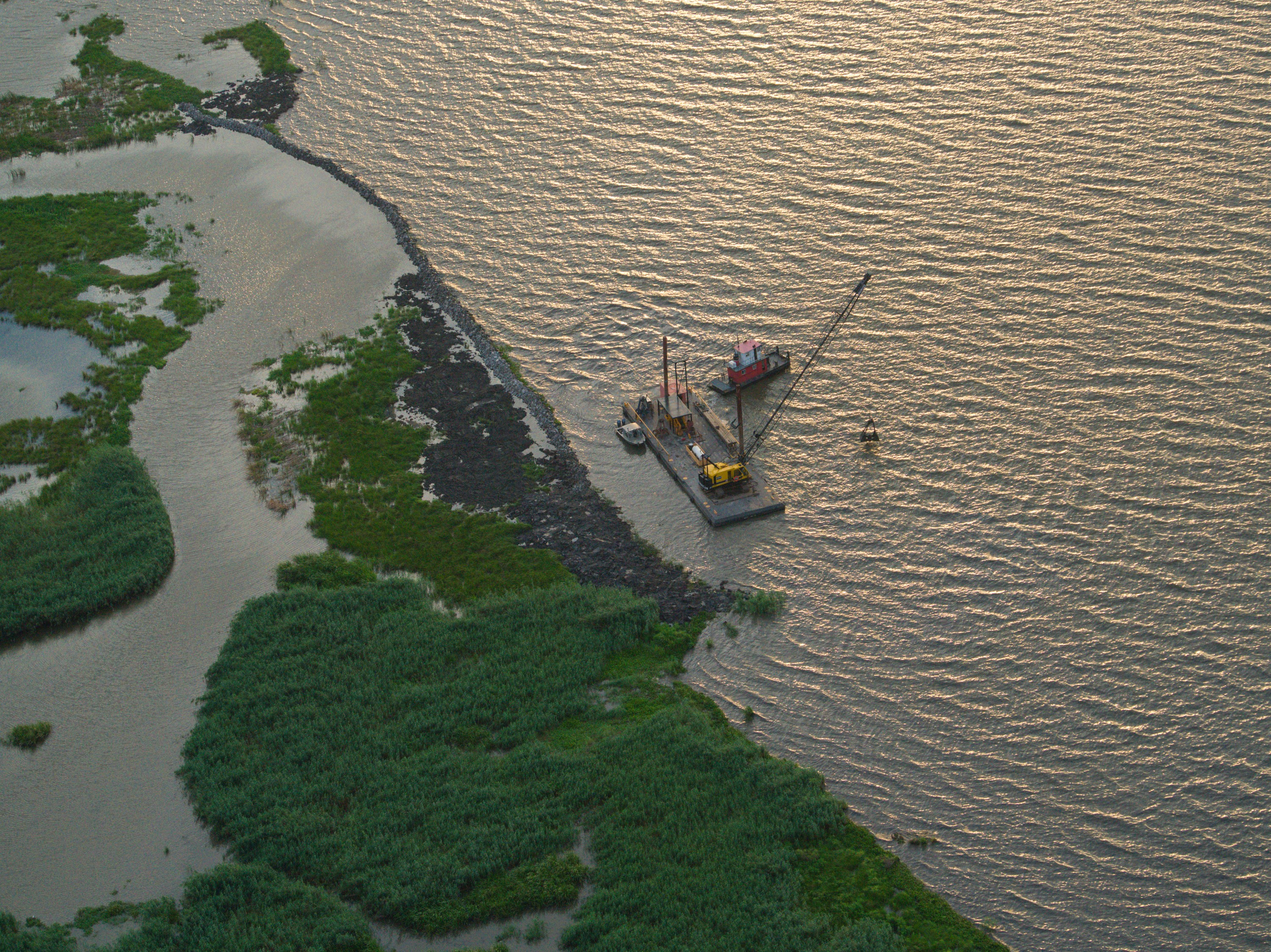aerial view of barge near shoreline
