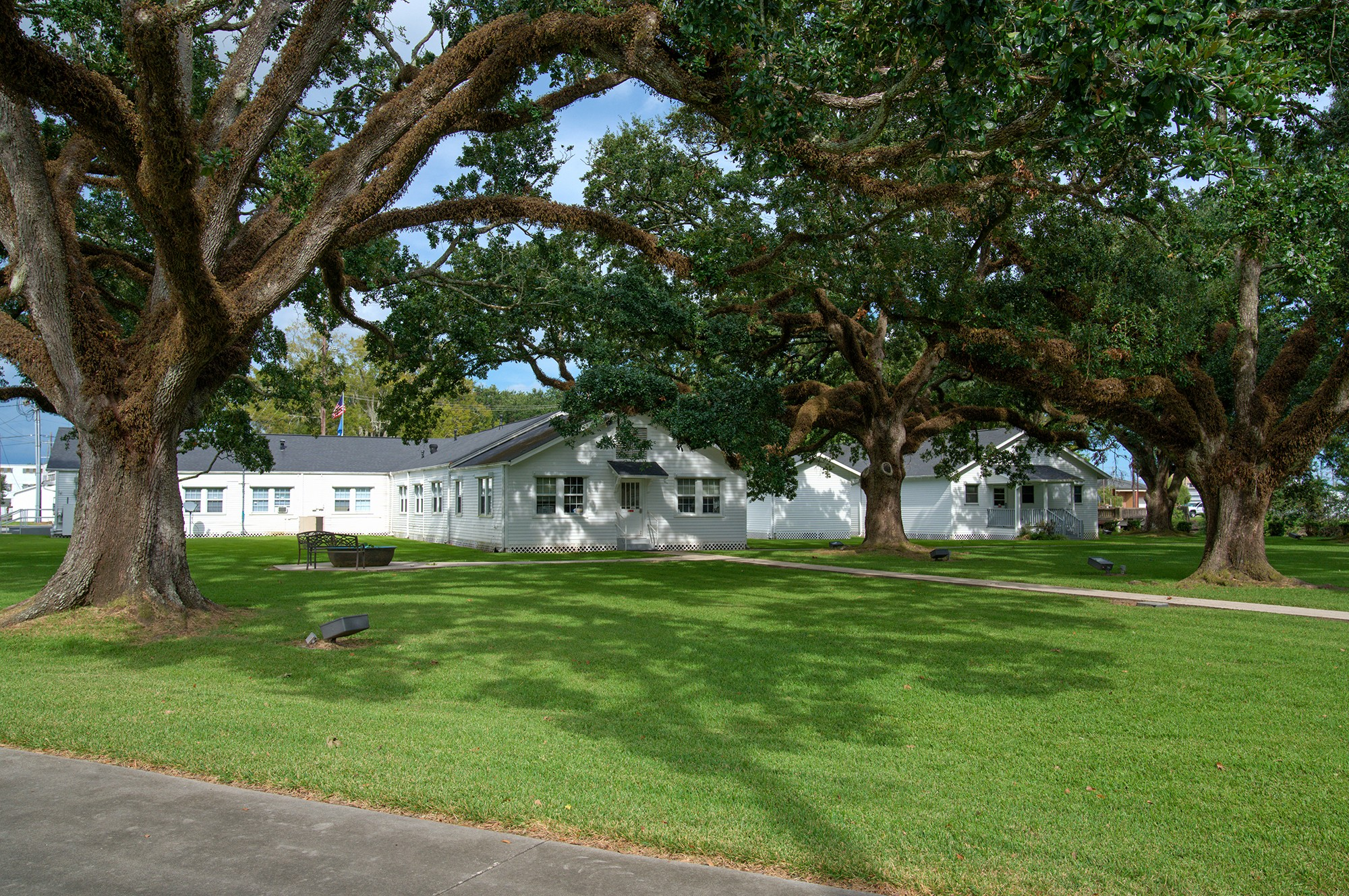 White buildings with green lawn and shade trees