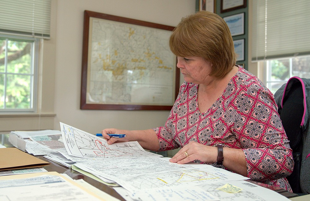 Woman in office perusing maps